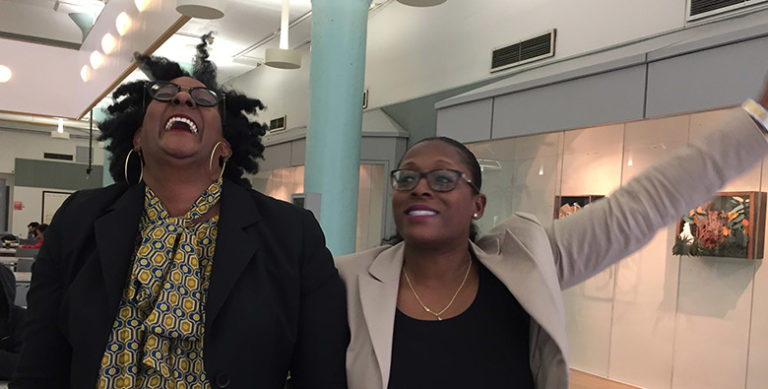 Professors Faith Armstrong and Tameka Battle look happy!