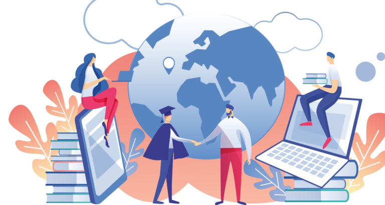 illustration of students shaking hands in front of globe with technologu and other learning resources